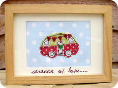 caravan of love (heartfelthandmade) Tags: blue red green love handmade picture frame caravan applique motorhome heartfelt polkadot bunting