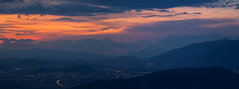 Hometown (ChrisBrn) Tags: sunset sky panorama lake mountains clouds lights hills greece valley ioannina vision