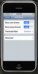 Mobile Colloquy Settings Interface