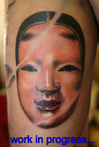 japanese mask tatoo by Mirek vel Stotker
