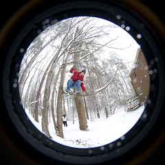 Jumping Out (pgpanic) Tags: park trees winter dog selfportrait snow lauren nature weather playground sarah sisters digital snowman woods nikon lab frost swings freezing pug wideangle slide rob pitbull fisheye gloves flurries paths fullframe noelle 8mm element d3 bestfriends snowday snowballfight nikond3 nikonwideangle