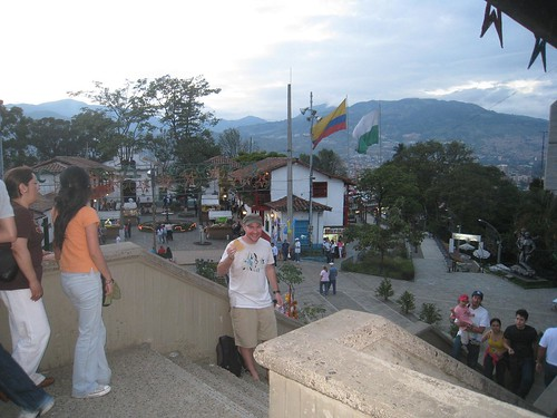 Eating an arrepa at Pueblito Paisa