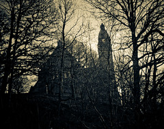 (gothicburg) Tags: tower church silhouette dark gteborg sweden branches gothenburg gothic sverige annedalskyrkan zifferblatt lightroom2 annedal