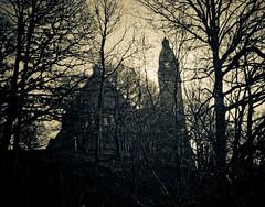 (gothicburg) Tags: tower church silhouette dark göteborg sweden branches gothenburg gothic sverige annedalskyrkan zifferblatt lightroom2 annedal