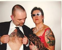 What lies benneath (sandman1965) Tags: hairy 2004 shirt tattoo flesh lady fetish nipple skin glenn bra tie 1940s redlipstick skinhead redbra
