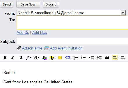 Location in GMail Signature