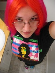 Back when I had awesome hair... (days were never dull) Tags: pink blue orange green girl rock socks hair bathroom glasses colorful punk angle bright rocky horror punkrock dyed mismatched timcurry frankenfurter