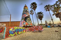 Early Morning on Venice Beach (Philippe Vieux-Jeanton) Tags: california beach sunrise graffiti losangeles venicebeach 2009 hdr sigma1020mm graffitipit sonydlsra700