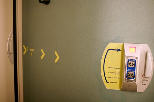 Toilet door interface