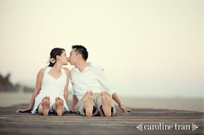santa monica beach engagement photo