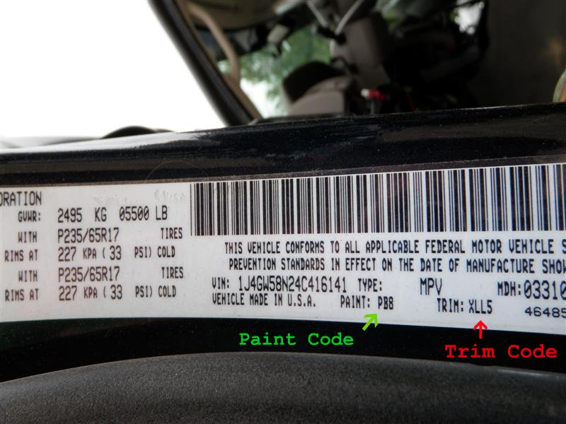 How To Find Paint Codes And Interior Trim Codes On Your Jeep Grand