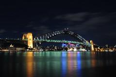 Harbour Bridge #1 (Cisco photostream) Tags: ocean bridge sea reflection night reflections mare pacific au sydney bridges australia ponte harbourbridge riflessi notte pacifico oceano riflesso ponti riflessione nikkor1424mmf28g
