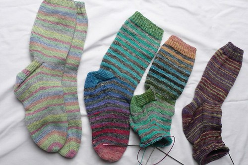 Socks on and off the needles