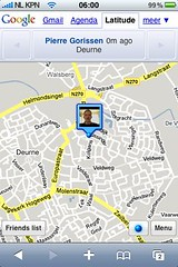 Screenshot Google Latitude iPhone (foto door: PiAir (Old Skool))