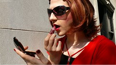 Applying Lip Gloss (Vera Wylde) Tags: nyc portrait public sunglasses drag outdoors tv lashes modeling manhattan cd crossdressing queen redhead tgirl transgender tranny transvestite lipstick trans blush dragqueen nailpolish queer lipgloss transgendered crossdresser crossdress ts compact tg barrettes transgirl verawylde