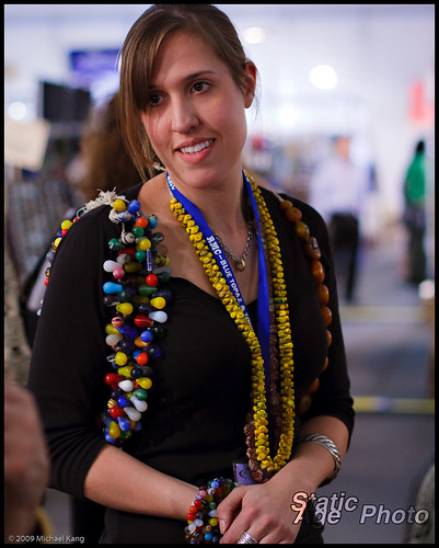 Amy with African trade beads.  © 2009 Michael Kang