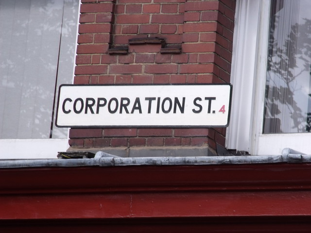 Corporation St road sign on King Edward Building, Corporation Street