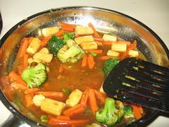 Veggies and sauce simmering