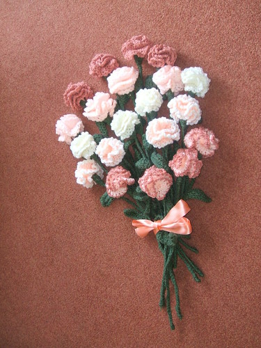 Crocheted Carnations.