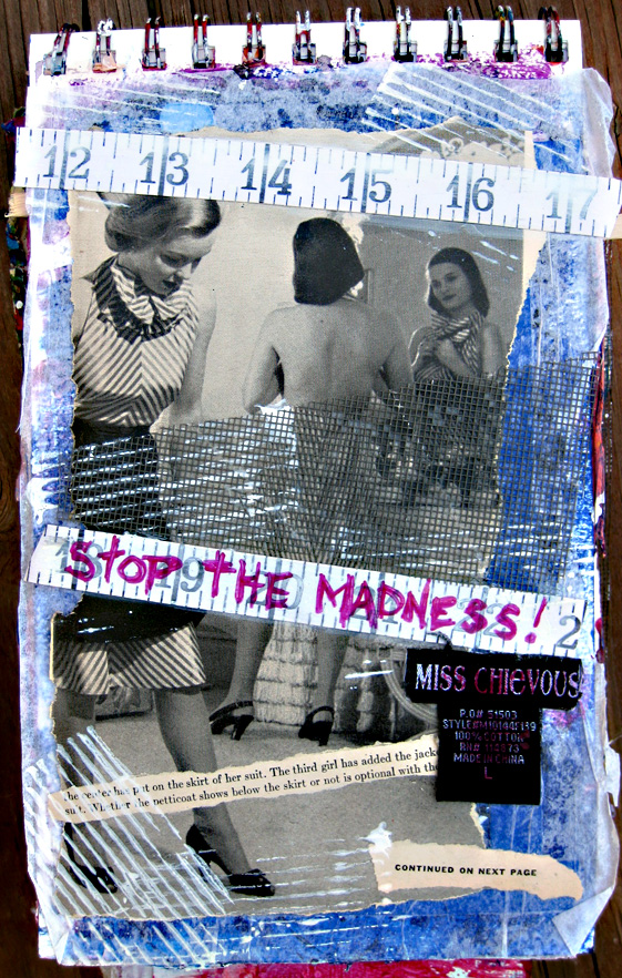 art journal page - stop the madness