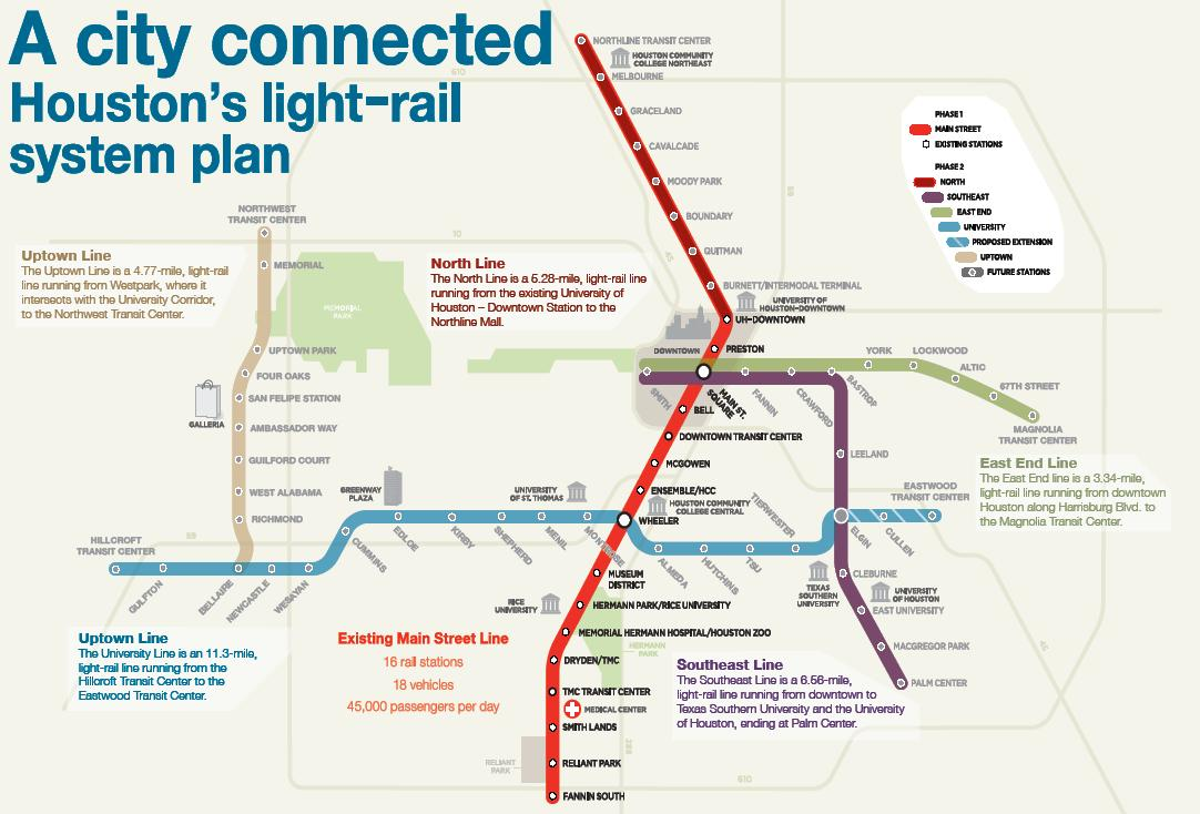 Houston\'s light rail map | Urban Commuting | Pinterest | Light rail ...