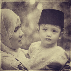 HaiQal | Eid-ulFitri (wazari) Tags: boy portrait blackandwhite cute art classic texture love monochrome smile face sepia photoshop vintage children square mono nikon toddler asia mood child emotion artistic expression availablelight candid eid hijab culture naturallight son retro portraiture myson malaysia stunning lovely tradition emotional hariraya asean aidilfitri anakku malay wajah lelaki bajumelayu syawal eidulfitri mubarak alchemist photoshopart 500x500 naturallightphotography hitamputih haiqal selamathariraya ilovemyson malaykid muslimkid artofportraiture anakmelayu wazari anaklelaki malaysiakid wazariwazir aseankid artofediting