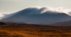 Smoke on the Mountain (code poet) Tags: road sky cloud mountain yellow fog alaska landscape hill willow 5d tundra 24105mm reddogmine
