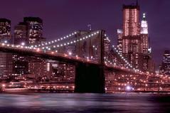[フリー画像] [人工風景] [建造物/建築物] [街の風景] [橋の風景] [夜景] [ブルックリン橋] [アメリカ風景] [ニューヨーク]   [フリー素材]