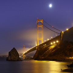 International Orange #2 - Golden Gate Bridge (PatrickSmithPhotography) Tags: ocean sanfrancisco california longexposure travel vacation usa seascape heron water rock square landscape seagull marin goldengatebridge 5d sausalito examiner canonmkii