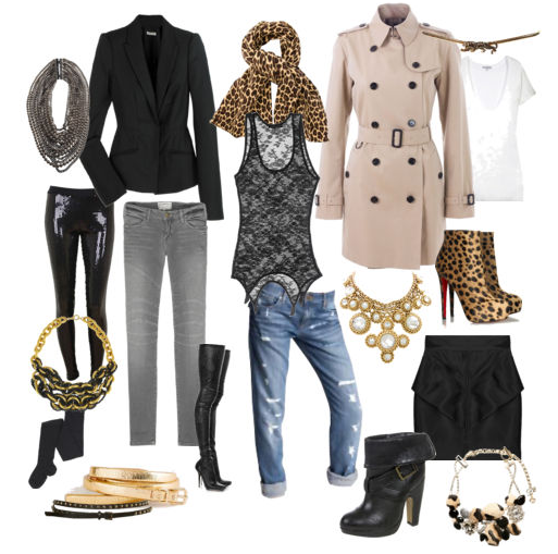 Fall-2009-Trends, leopard print, classic trench, gray skinny jeans, black blazer, buckle booties, tights, sequin leggings, chunky chokers, chains, rhinestones,