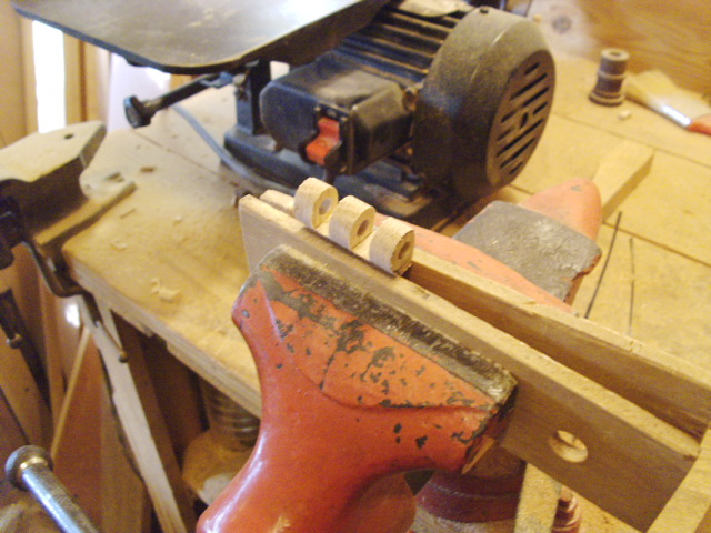 Clamped in vise with wooden faces