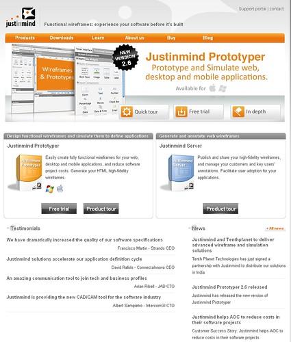 Justinmind homepage