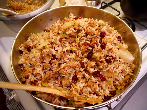 brown rice - bulgur pilaf w/ sage sausage & cranberries!