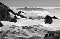 Above the clouds (*sarah b*) Tags: blackandwhite italy cloud snow france mountains alps mono glacier chamonix