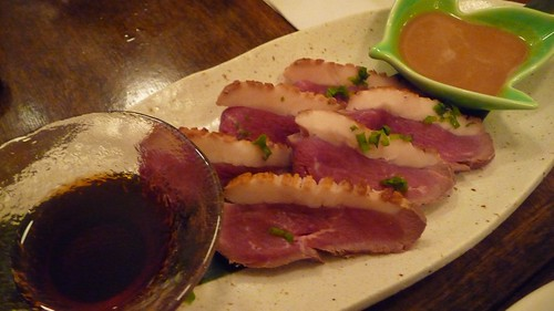 Seared duck with ponzu and sesame sauce at Sobakoh