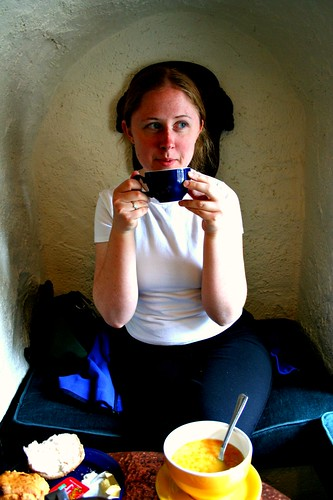 Jess sipping tea in the Lake District