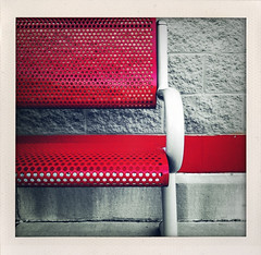 (Red) Bench & Stripe (Jason L. Parks) Tags: red urban blackandwhite bw analog bench square polaroid outside birmingham framed seat border alabama stripe frame target 100 colorsplash 3gs iphone alabaster fauxlaroid iphoneography shakeitphoto jasonlparks
