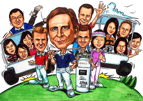 group caricatures for P&G -colour