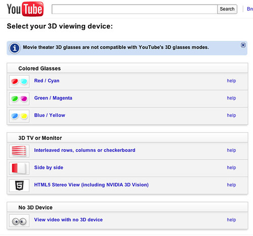 YouTube 3D Device options