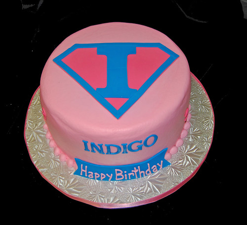 Pink and Blue Super Hero Cake