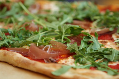 Prosciutto and Arugula Pizza with Homemade Mozzarella, Crushed Jersey Tomatoes, and Terranova Bakery 00 Flour
