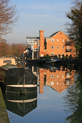 Wey Navigation, Weybridge (Studyjunkie) Tags: uk greatbritain blue winter england reflection water boat canal britain surrey nationaltrust reflexions narrowboat wey weybridge weynavigation reflectioninwater project365 8365 thameslock project3661 t189project265 366sh09 sh0961 whittetsait