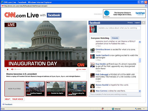 CNN Live/Facebook - Inauguration 2009.