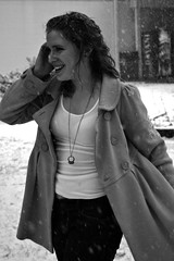 (cecilia wachter) Tags: snowflake woman white snow black girl smile happy fight teen jacket laugh snowball snowfall adolescent