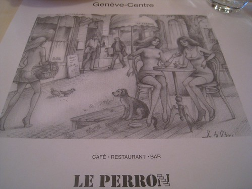 These placemats were a pleasant surprise at Le Perron