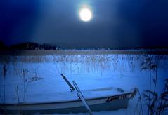 Night Boat (ristozz) Tags: moon snow ice night espoo finland boat talvi digitalcameraclub matinkyl dragondaggerphoto dragondaggeraward