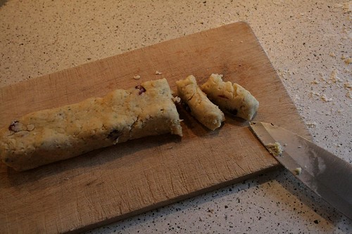 Rosemary and vanilla flavoured bicuits with dried cranberries