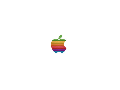 Classic Apple Rainbow Pixelated Logo Wallpaper White Style