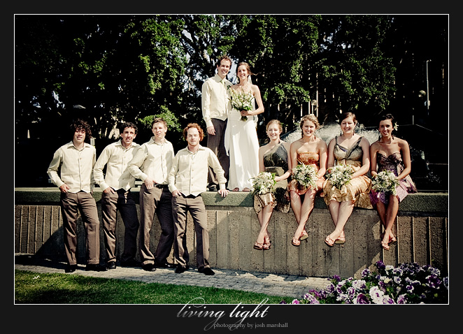 Bridal party at the edge of the fountain at Civic Park, Newcastle.