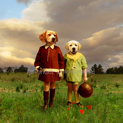 In charge (Martine Roch) Tags: boy dog pet love nature girl kids children couple labrador surreal photomontage spaniel enfants manray digitalcollage lamarelle petitechose martineroch mywinners pagneul